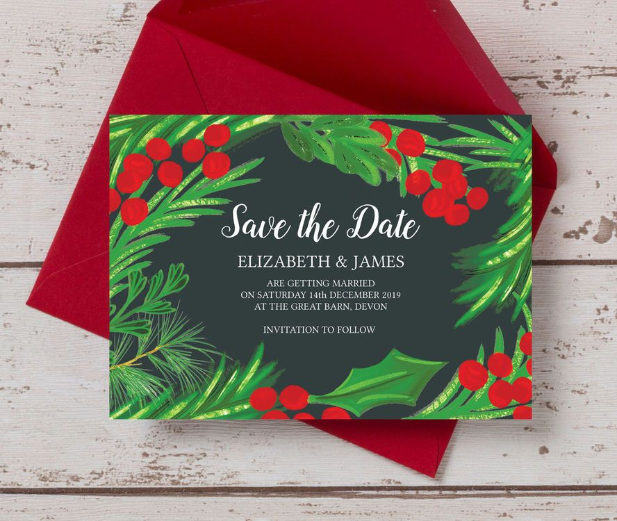 Winter Berries Wedding Save the Date Christmas wedding, Rsvp and