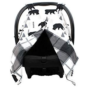 Dear Baby Gear Car Seat Canopy, Woodland Bear Moose Plaid, Minky Black - Compare and Shop The Best Stuff