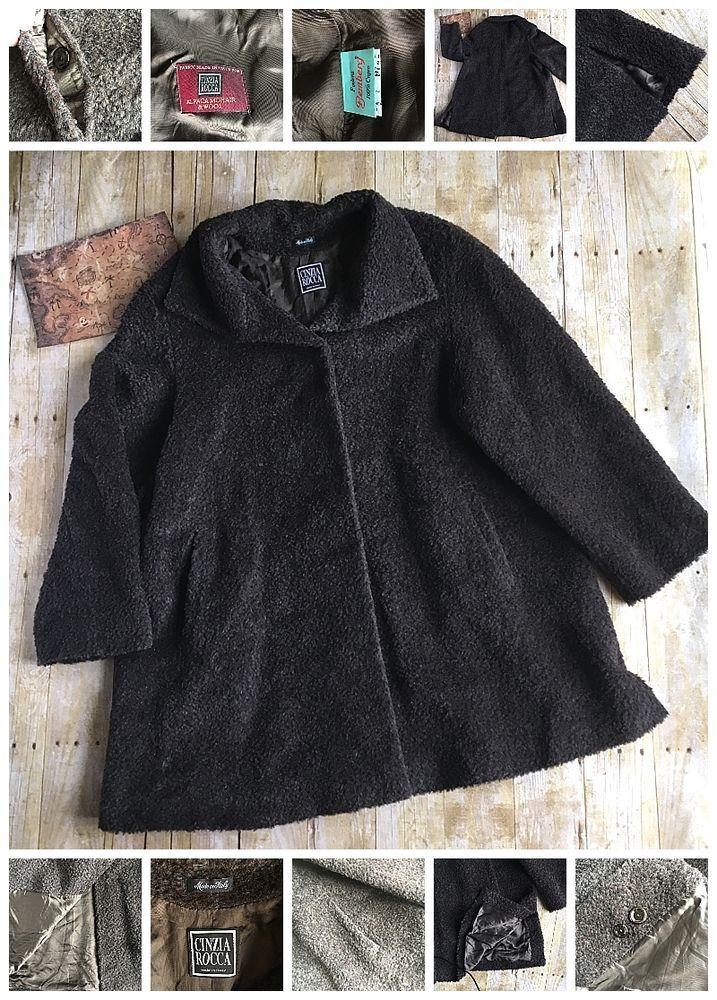 Designer Cinzia Rocca Italy Alpaca Mohair & Wool Cupro Lining Brown Shag Coat #CinziaRocca #BasicCoat