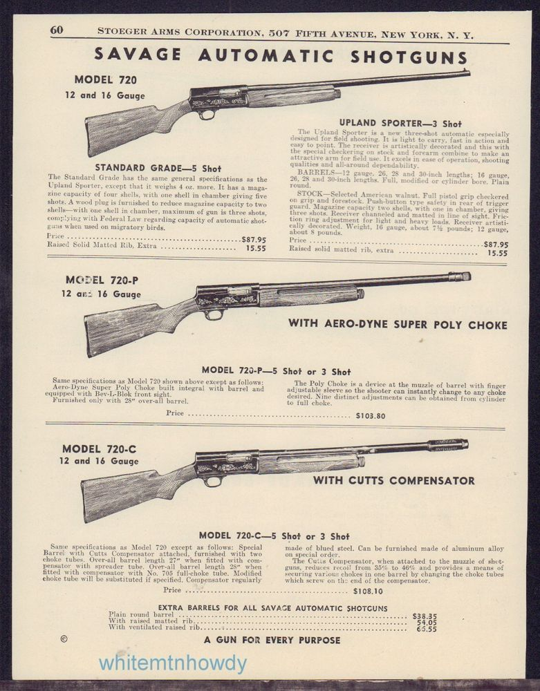 Details About 1948 SAVAGE Model 720 720 P 720 C Shotgun AD