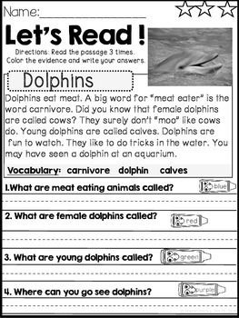 Reading Comprehension And Text Evidence For Beginners Animals All