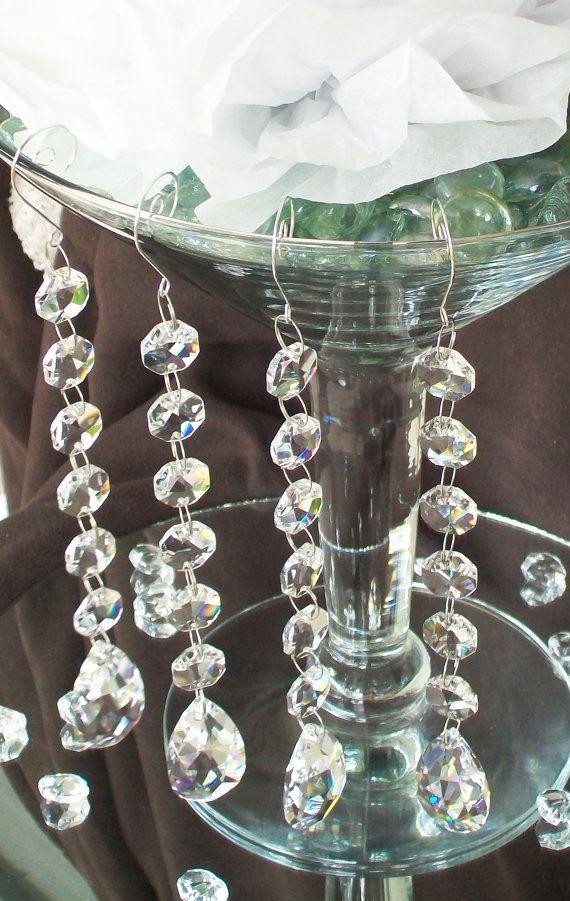 Martini Glass Vase Hanging Crystals 4 Pc Wishing Tree Manzanita Branch Wedding Tree Garland Table Centerpiece Hanging Crystals Martini Vases Wedding Table Centerpieces