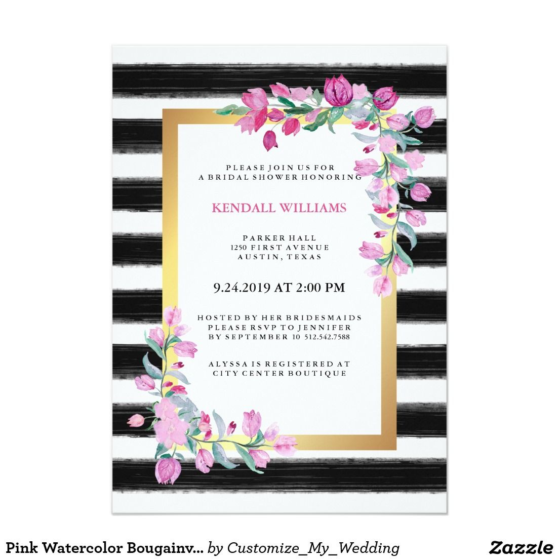 Pink Watercolor Bougainvillea with Black and White Stripes Bridal Shower Invitation