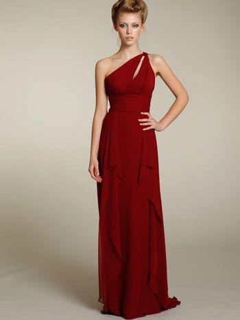 Indigo One Shoulder A-Line Chiffon Grecian Bridesmaid Dress ...