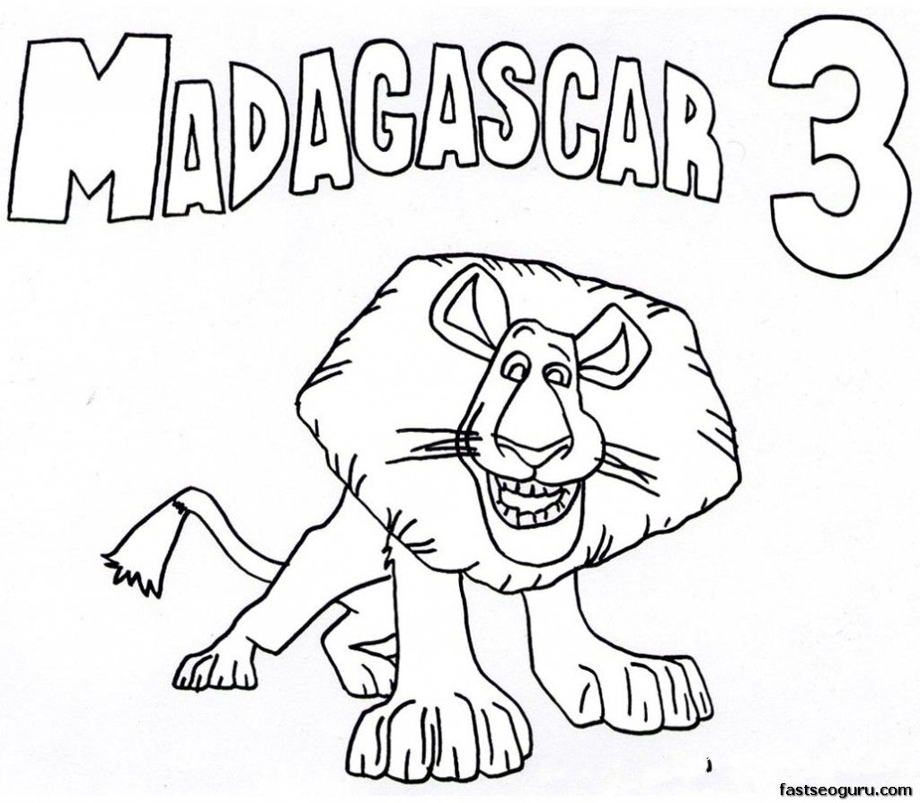 Printable alex madagascar 3 coloring pages