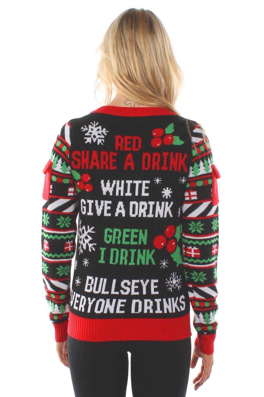 Womens Drinking Game Ugly Christmas Sweater Holidays Christmas