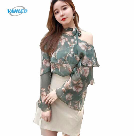 2060df4a8dcf19 VANLED 2017 Summer Women s Printing Chiffon Blouses Shirts Soft Floral  Leisure Tops Female Girl s Clothing