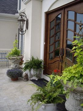 Beautiful Front Door and planters with potato vine - Designs by ...