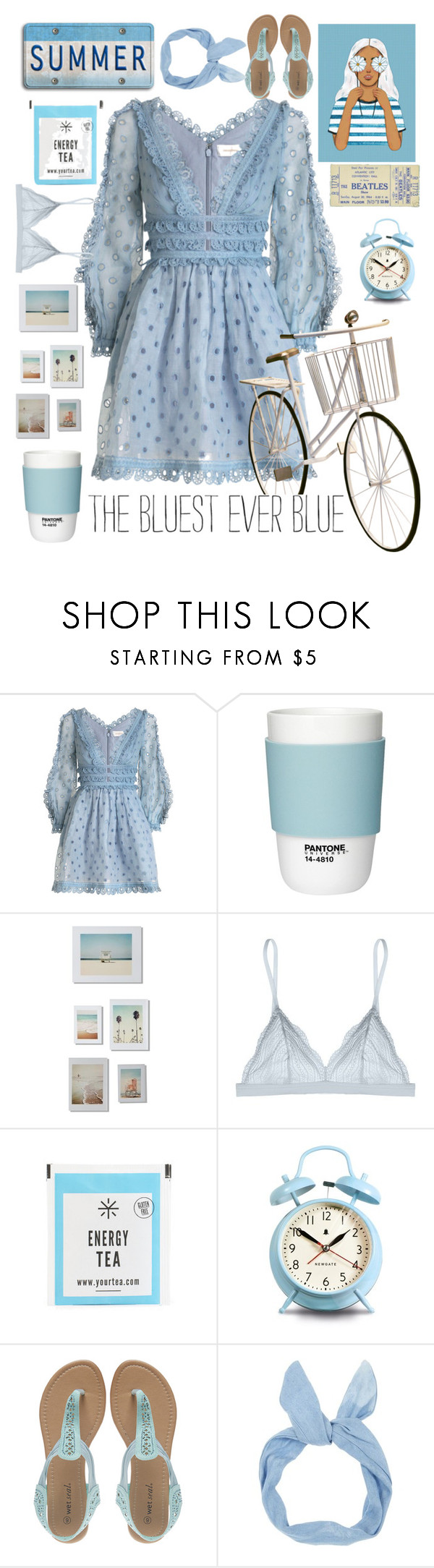 """Bluest Summers Day"" by alongcametwiggy ❤ liked on Polyvore featuring Zimmermann, Pantone, DENY Designs, Cosabella, Newgate and Wet Seal"