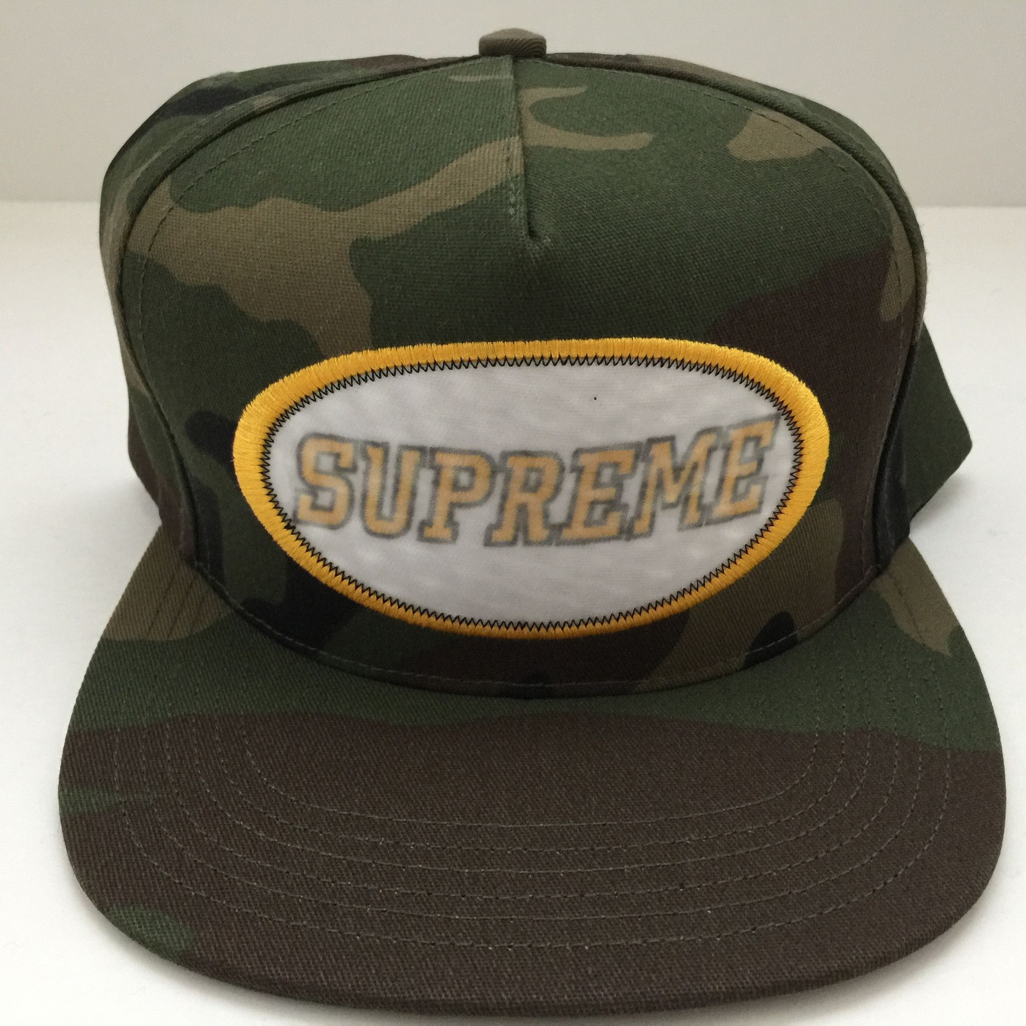 Name  Supreme Overlay 5-Panel Camo Snapback Hat Cap Woodland Condition   Brand New Year  FW16 ade03908b366