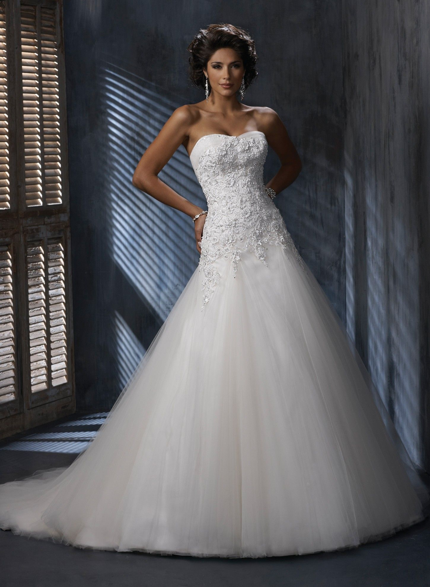 tulle and lace sweetheart a-line wedding dress   Sangmaestro ...