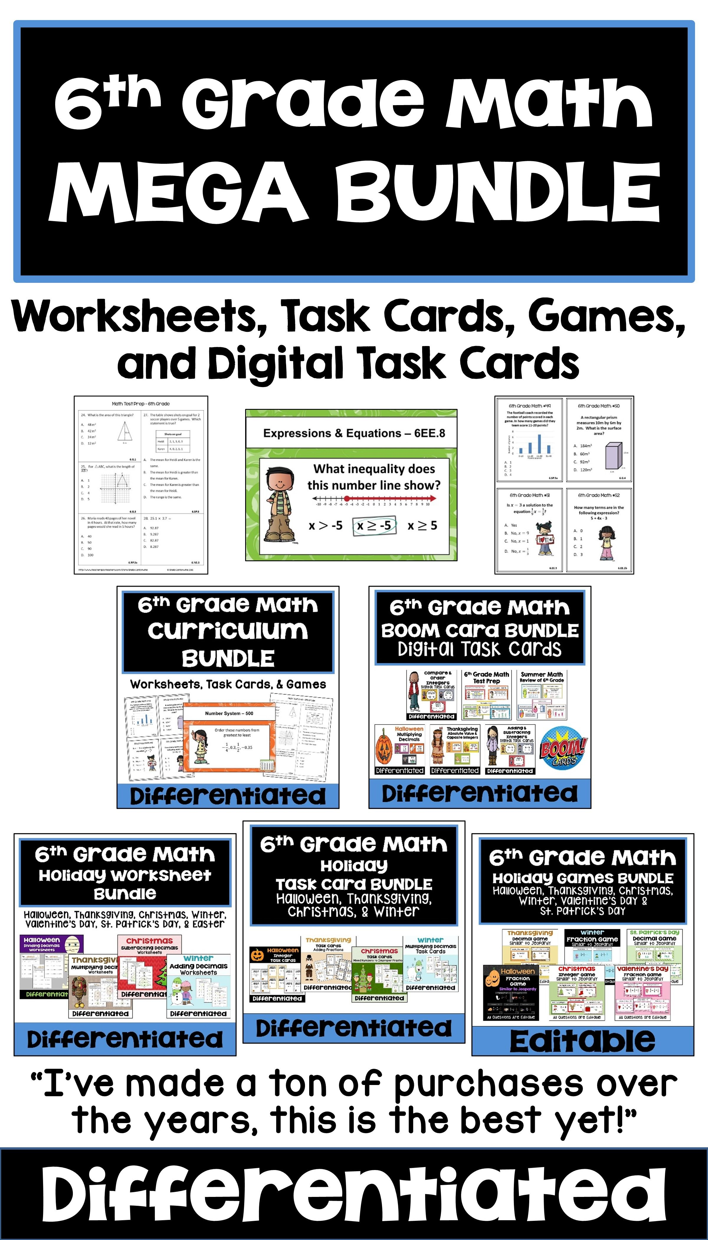 This 6th Grade Math Bundle Features Common Core Standards