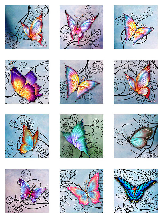 Photo of Butterflies Swirl Pastel Watercolor Paper Instant Download For Glass Resin Scrabble Tile Pendants Digital Collage Sheet Square Jpeg (S-8)