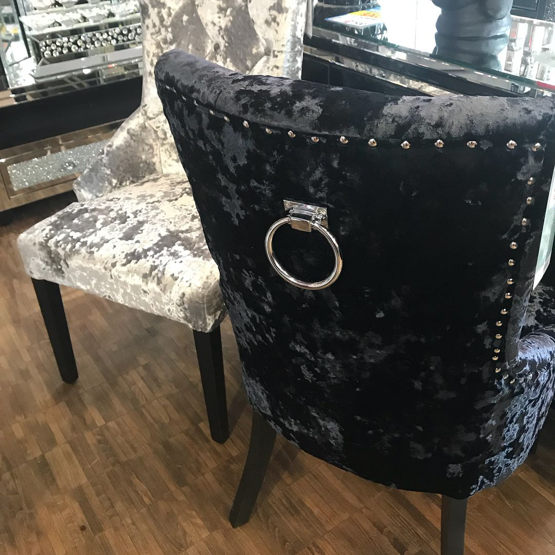 Crushed Velvet Dining Chairs With Knocker Back Designer Chairs