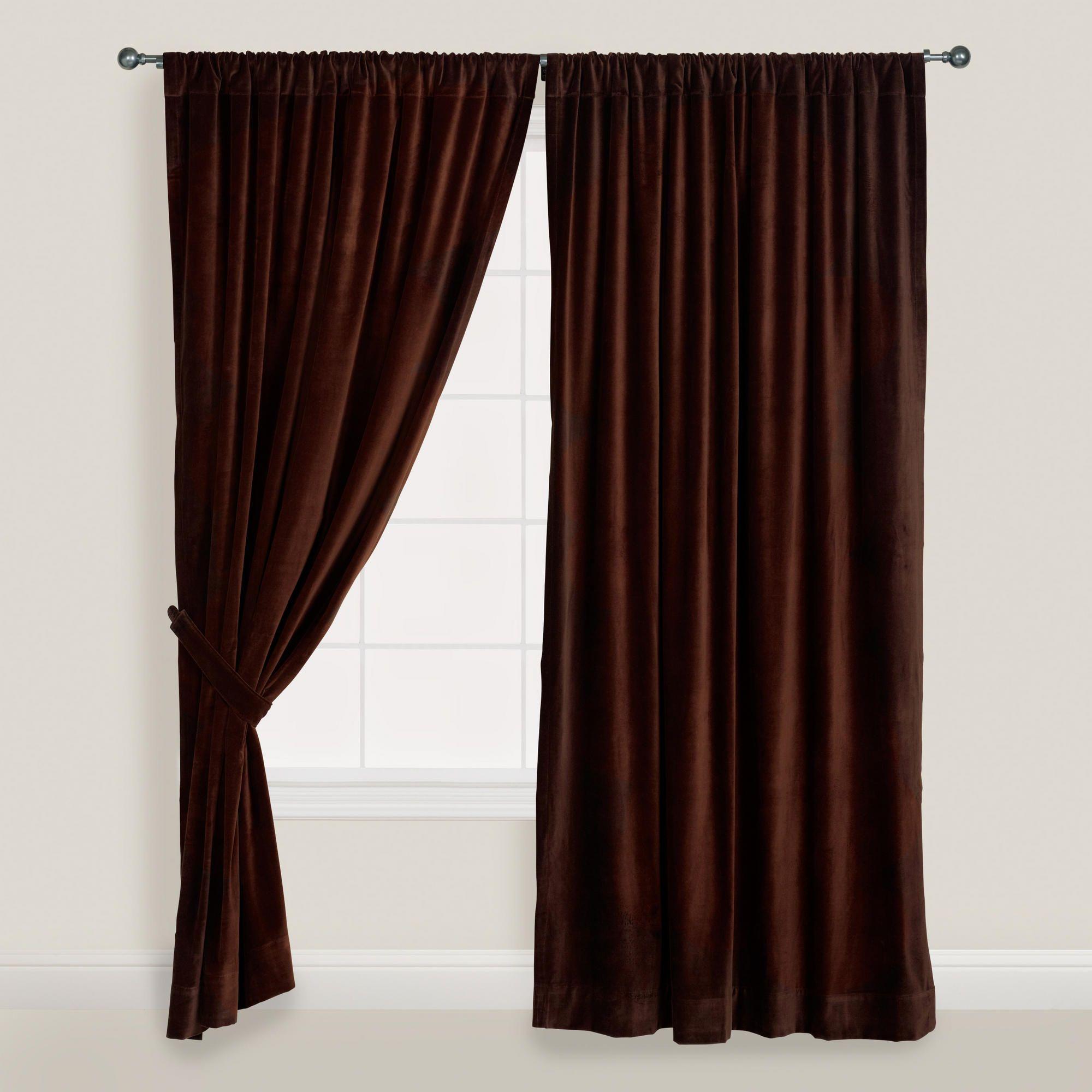 Chocolate Brown Velvet Curtain World Market Brown Curtains