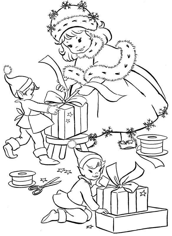 prepare gifts christmas eve coloring page