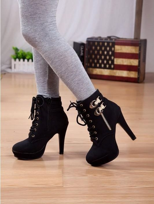 women short boots suede fashion leather thin high heels pointed shoelace side zipper ankle shoes B0784B37SK