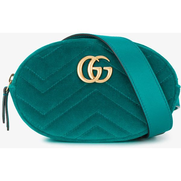 Gucci Teal Blue Marmont Matelassé belt bag (€700) ❤ liked on Polyvore  featuring dfea241513c