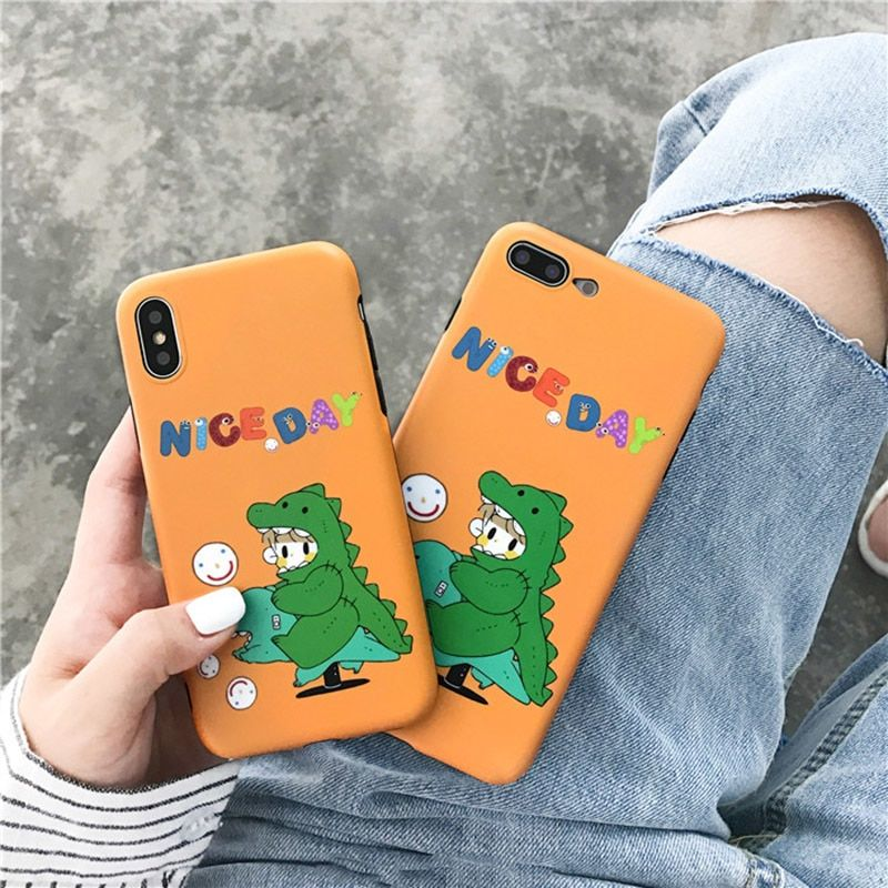 Cute Smile Dinosaur iPhone Cases For iphone X XS Max XR