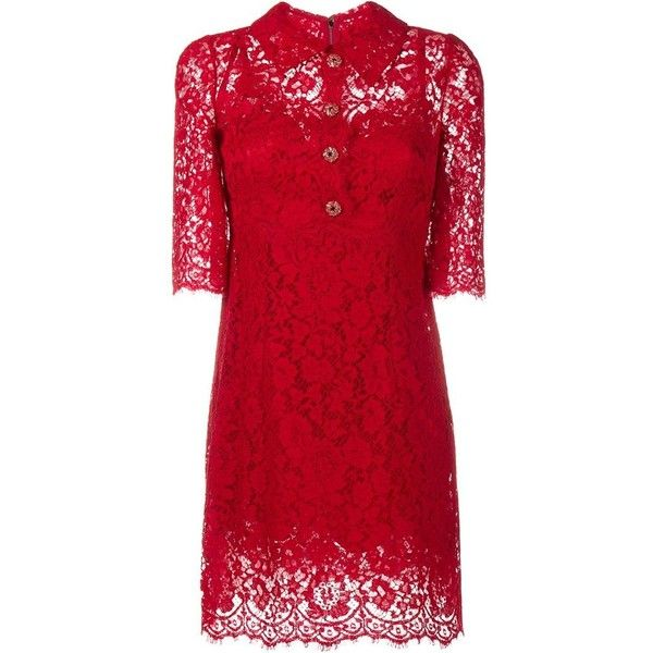 Dolce & Gabbana Floral Lace Button-Up Dress (€2.505) ❤ liked on Polyvore featuring dresses, dolce & gabbana, red dress, lace dress, red embellished dress, dolce gabbana dress and floral button up dress