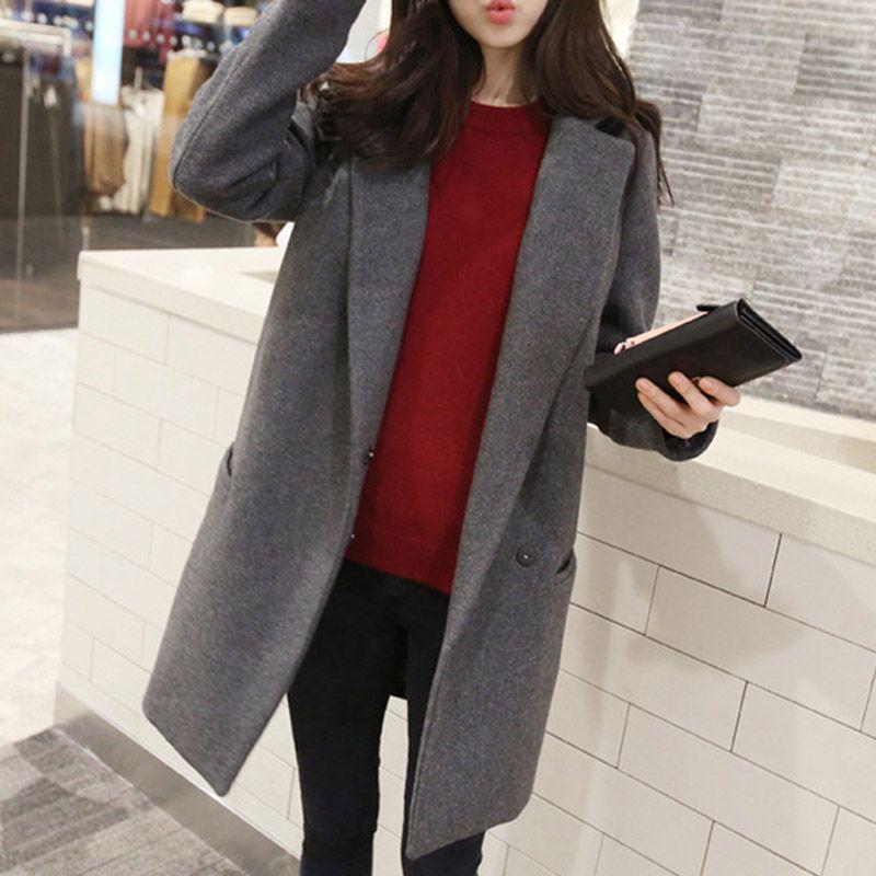 2016 New Women's Winter Coat Female Wool Outerwear Coat Grey Navy ...