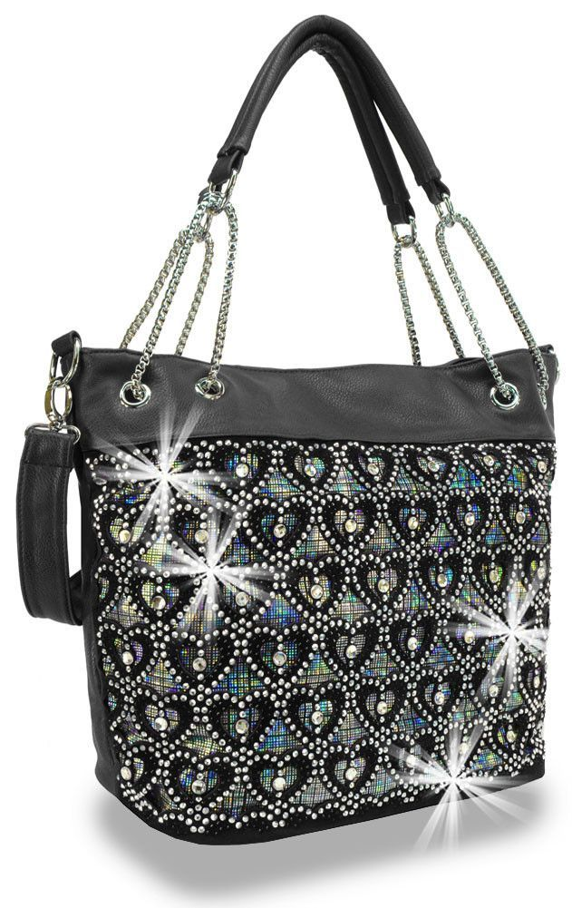 * Rhinestone and Iridescent Layered Shopper-Styled Tote In Black