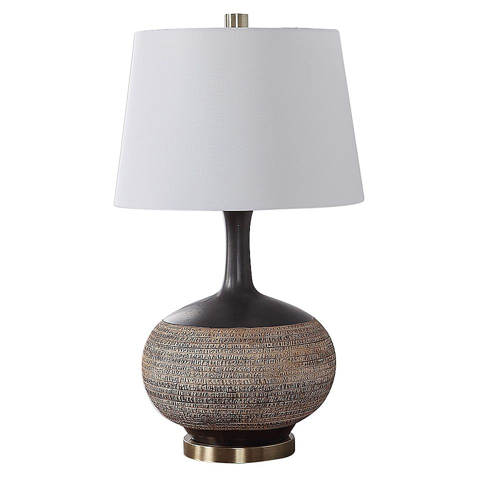 Uttermost Kipling Textured Table Lamp In Brown Beige With Fabric