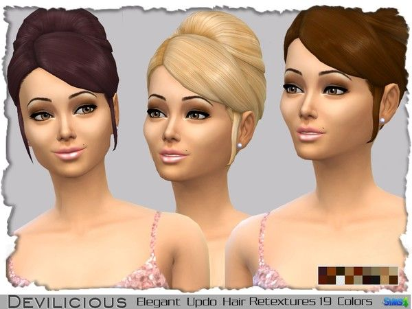 The Sims Resource: Elegant Updo Hairstyle Retextures 19 In 1 • Sims 4 Hairs