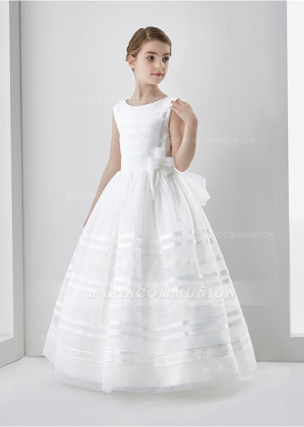 bf3c3009243 Scoop Neck Ball Gown Organza First Communion Dress with Bow ...