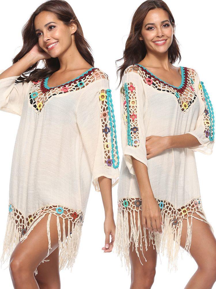 bea5559a06693 Women Crochet Tassel Hollow Out Patchwork Sunscreen Cover Ups Swimsuits  Cheap Best - NewChic
