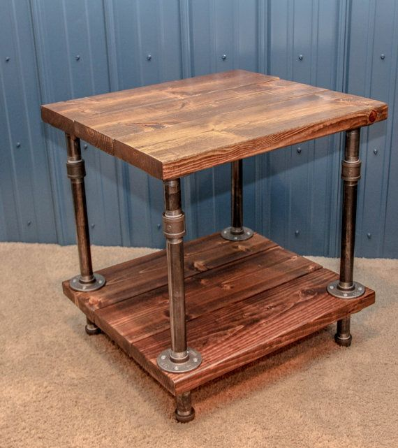 Industrial wood and pipe end table rustic di