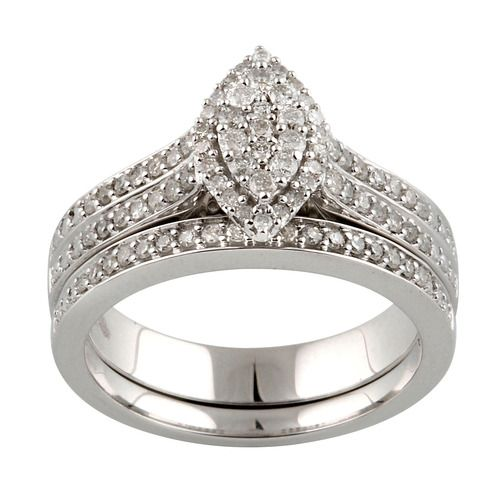 Forever Bride 1 2 Carat Marquise Shaped Diamond Bridal Set And