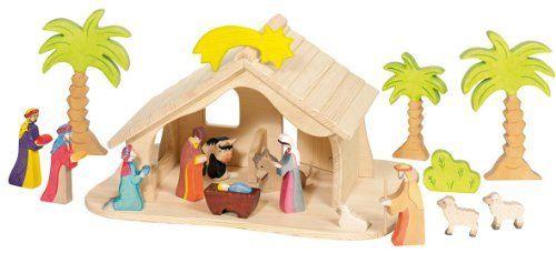 En bois stable et quatre pièces de Noël Nativité Figures Doll House miniatures