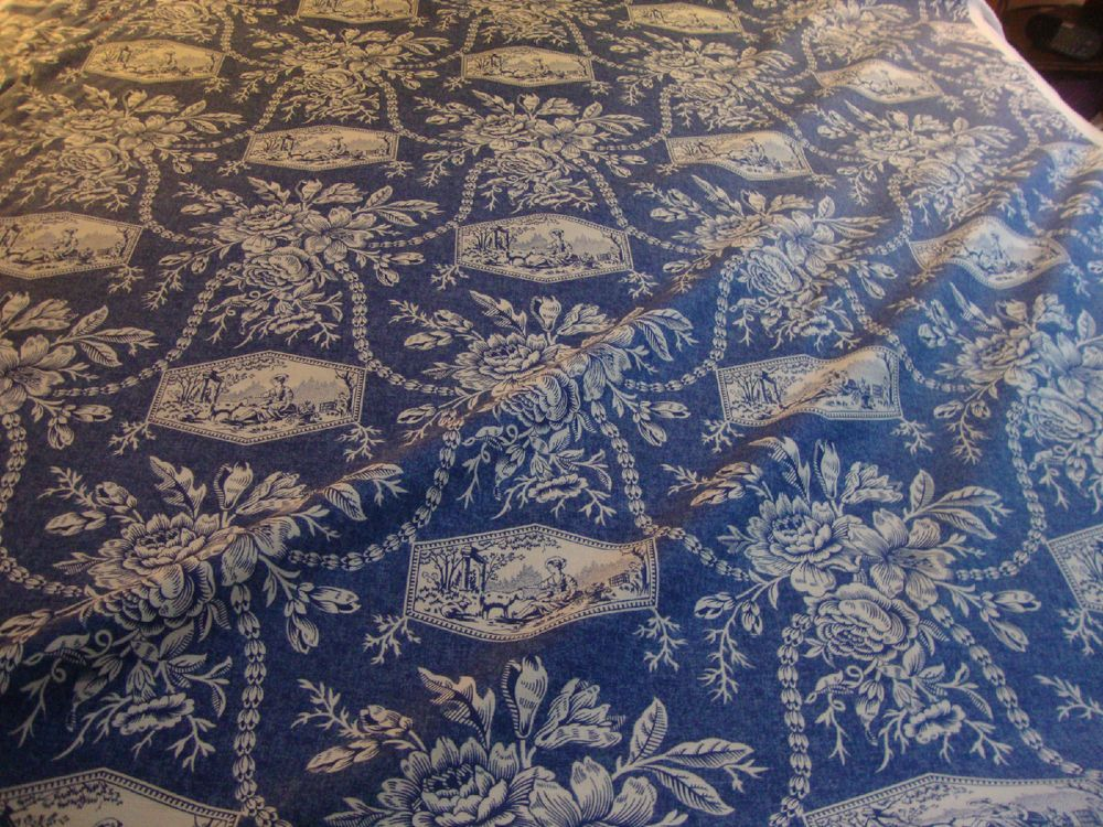 Laura Ashley English Country Toile Denim Blue White By The Yard