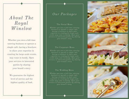 green simple and elegant catering trifold brochure branding
