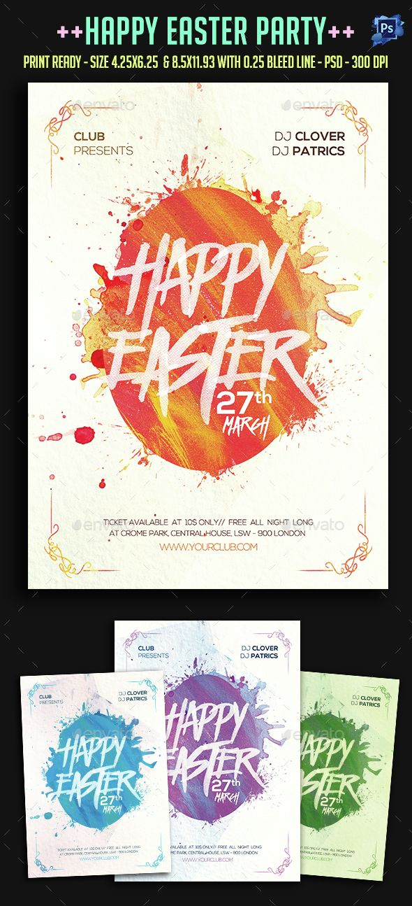 Happy Easter Party Flyer Easter party, Party flyer and Graphics