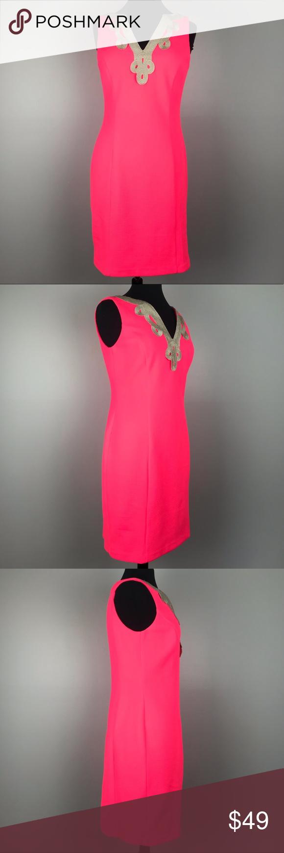 Vince Camuto Hot Pink Gold Brocade Sheath Dress Sheath Dress Clothes Design Gold Brocade [ 1740 x 580 Pixel ]