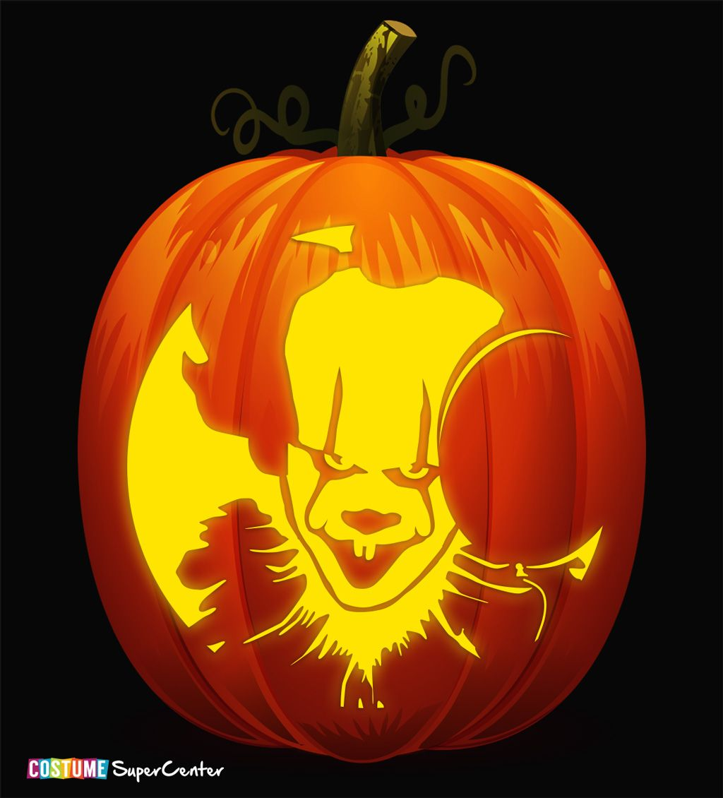 pumpkin template pennywise  Free Pennywise Pumpkin Stencil in 6   Pumpkin carving ...