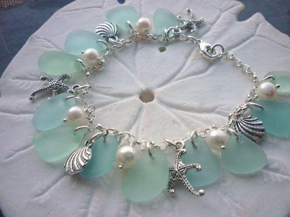 Aqua Sea Glass Bracelet Beach Glass Jewelry Charm Bracelet