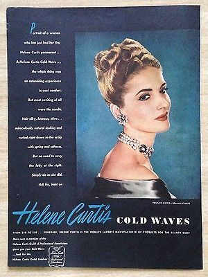 1945-Helene-Curtis-Cold-Waves-40-039-s-hair-style-jewels-in-hair-vintage-print-ad