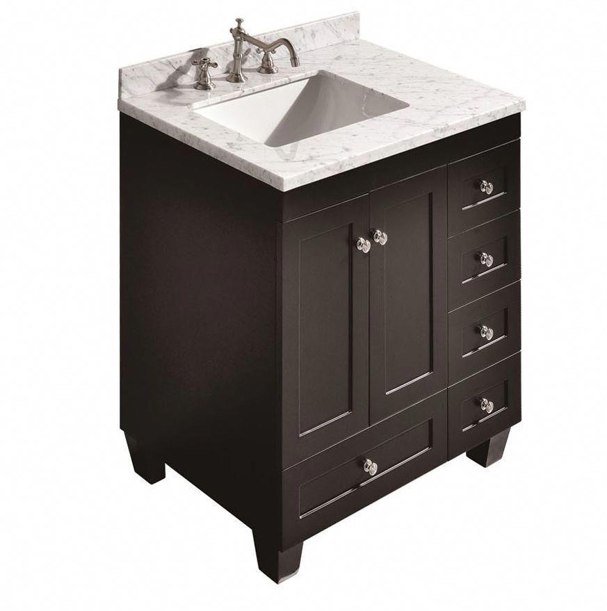 Accanto Contemporary 30 Inch Espresso Finish Bathroom Vanity Marble Top Topluxuryba Unique Bathroom Vanity Bathroom Accessories Luxury 30 Inch Bathroom Vanity