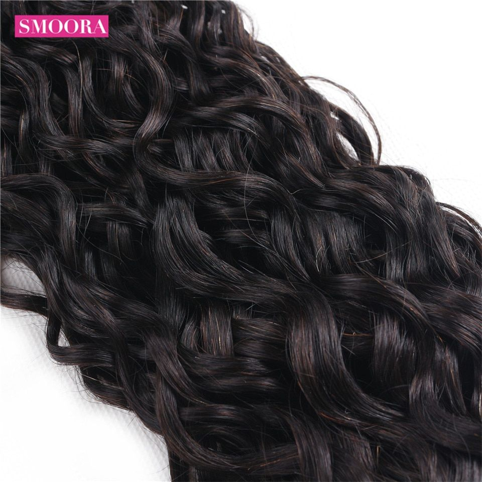 Smoora Hair Water Wave Bundles With Closure Free Part Natural Black 3 Pcs Hair With Closu Brazilian Human Hair Weave Brazilian Human Hair Human Hair Extensions