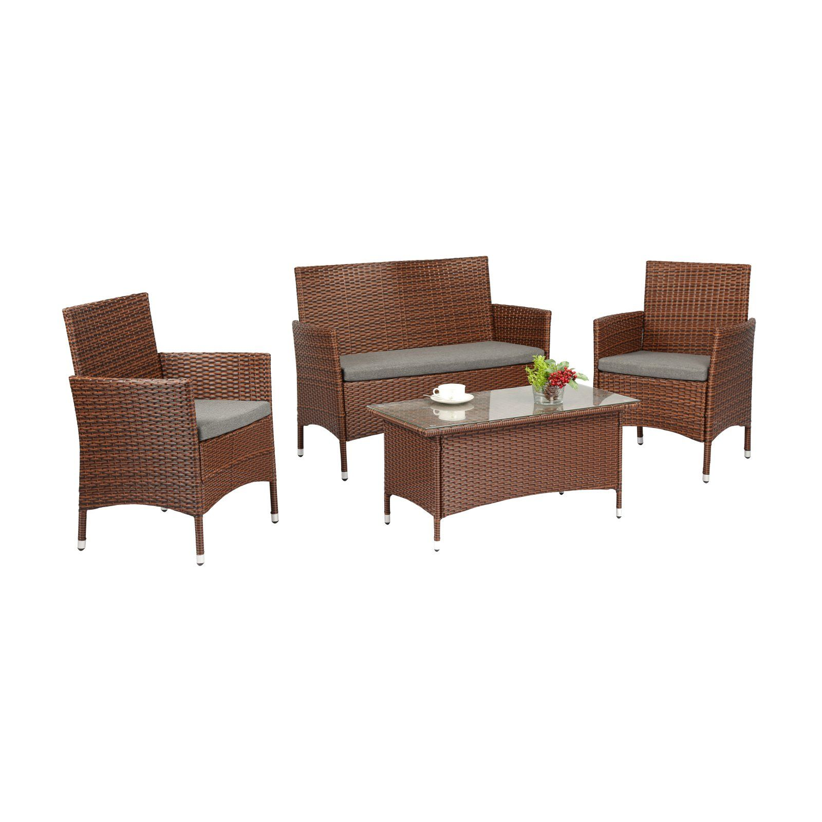 Astounding Outdoor Baner Garden Wicker 4 Piece Patio Conversation Set Ncnpc Chair Design For Home Ncnpcorg