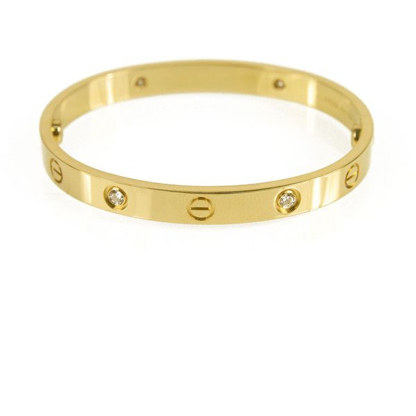 Pre Owned Cartier Love Bracelet 4 Diamonds Size 16 8 999 Liked On Polyvore Featuring Jewelry Bracelets Yellow 18k Tri Color Bangles