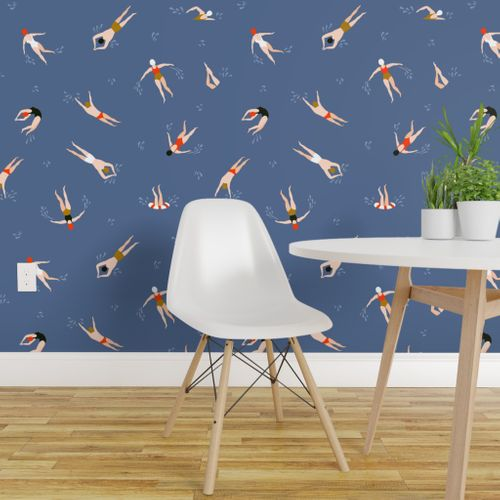 Colorful Fabrics Digitally Printed By Spoonflower Cute Swimmers Peel And Stick Wallpaper Removable Wallpaper Wallpaper Roll
