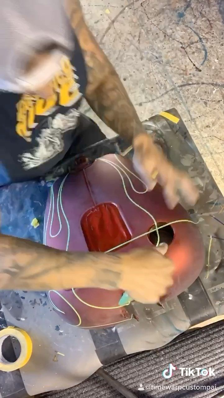 """Adam Paul on Instagram: """"How I tape out flames and match them to the other side. #custompaint #flames #tribal #ponstriping #flames #tribalflames #hotrod #airbrush…"""""""