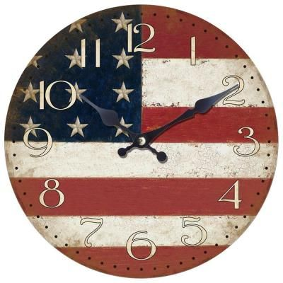 Yosemite Home Decor 14 In Circular Wooden Wall Clock With American Flag Print Clka7189 The Home Depot In 2020 Wall Clock Large Wall Clock Decor American Flag Wood