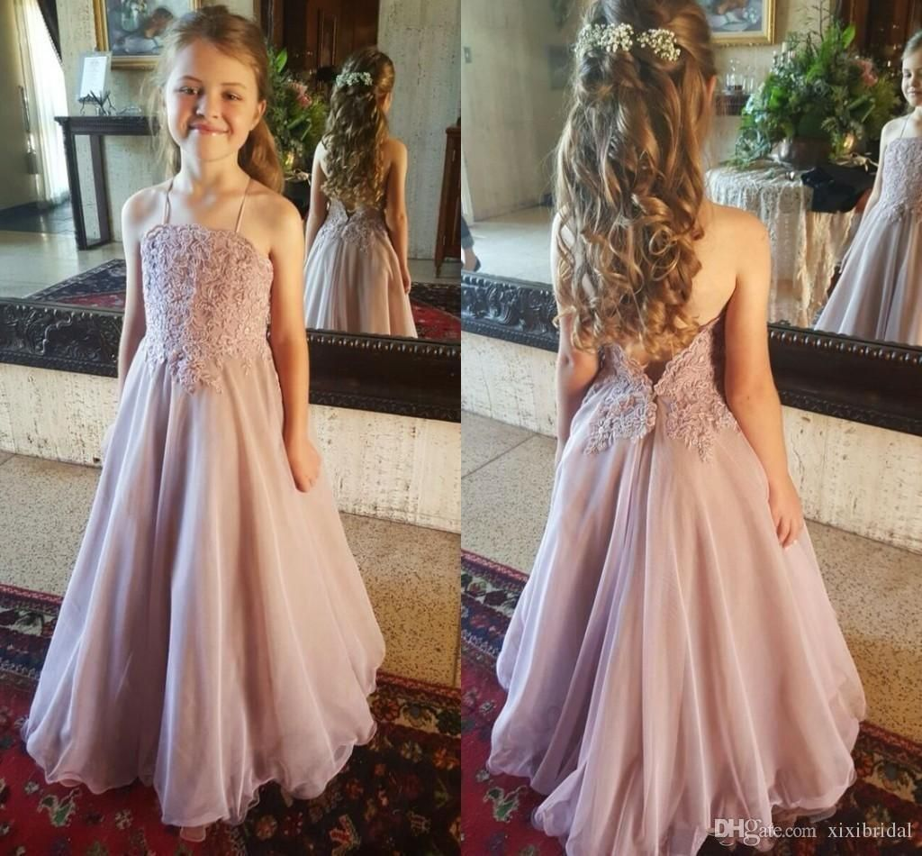 Dusty Pink Lace Flower Girl Dresses For Wedding Halter