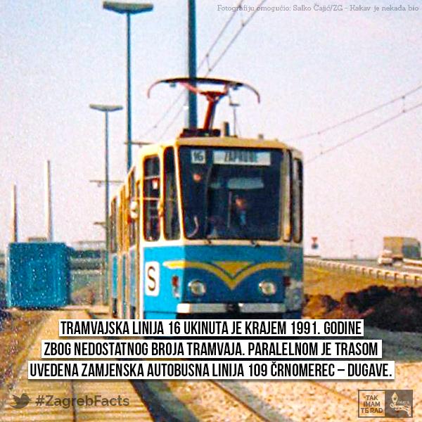 Linija 16 Vozila Je Trasom Crnomerec Jukiceva Savska Zapruđe Zagreb Vintage