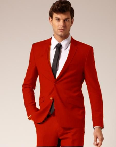 551cde100fdf Mens Colorful 2 Button Style Suit Pants Red ( Regular Cut or Slim ...
